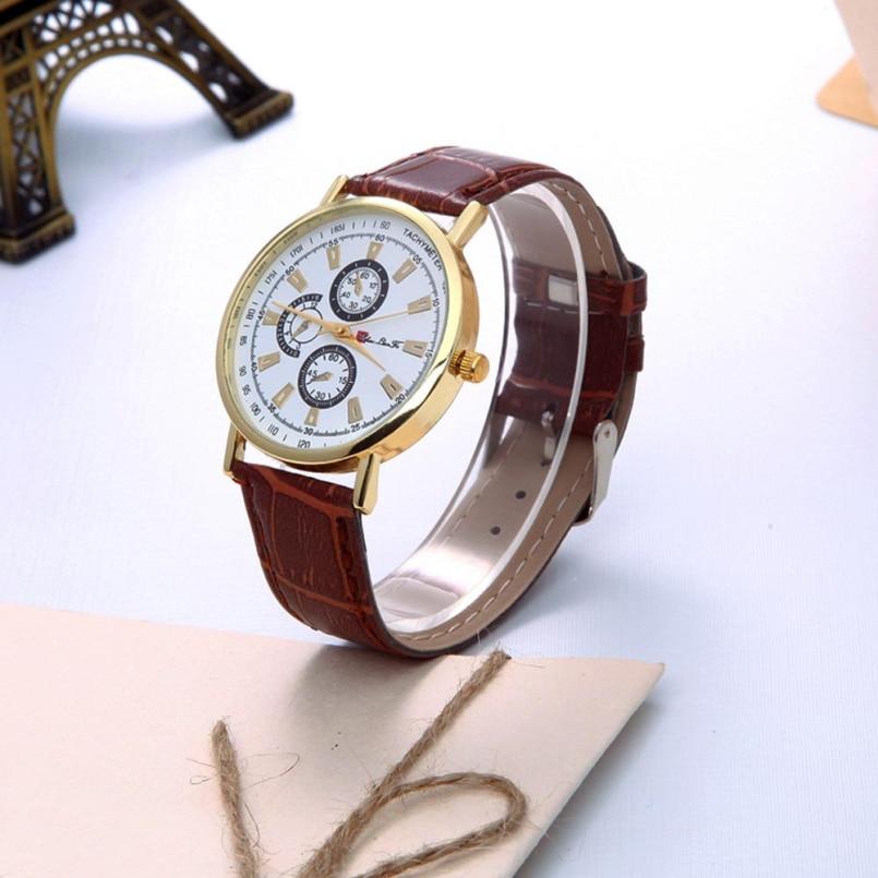 Excellent Quality 2016 Top Design Luxury Business Watches Mens Sport Quartz Clock Leather Strap Wristwatches Relogio Masculino