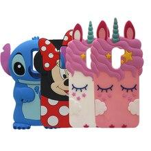 3D Cute Cartoon unicorn Cat Minnie Stitch soft Silicone phone Cases For