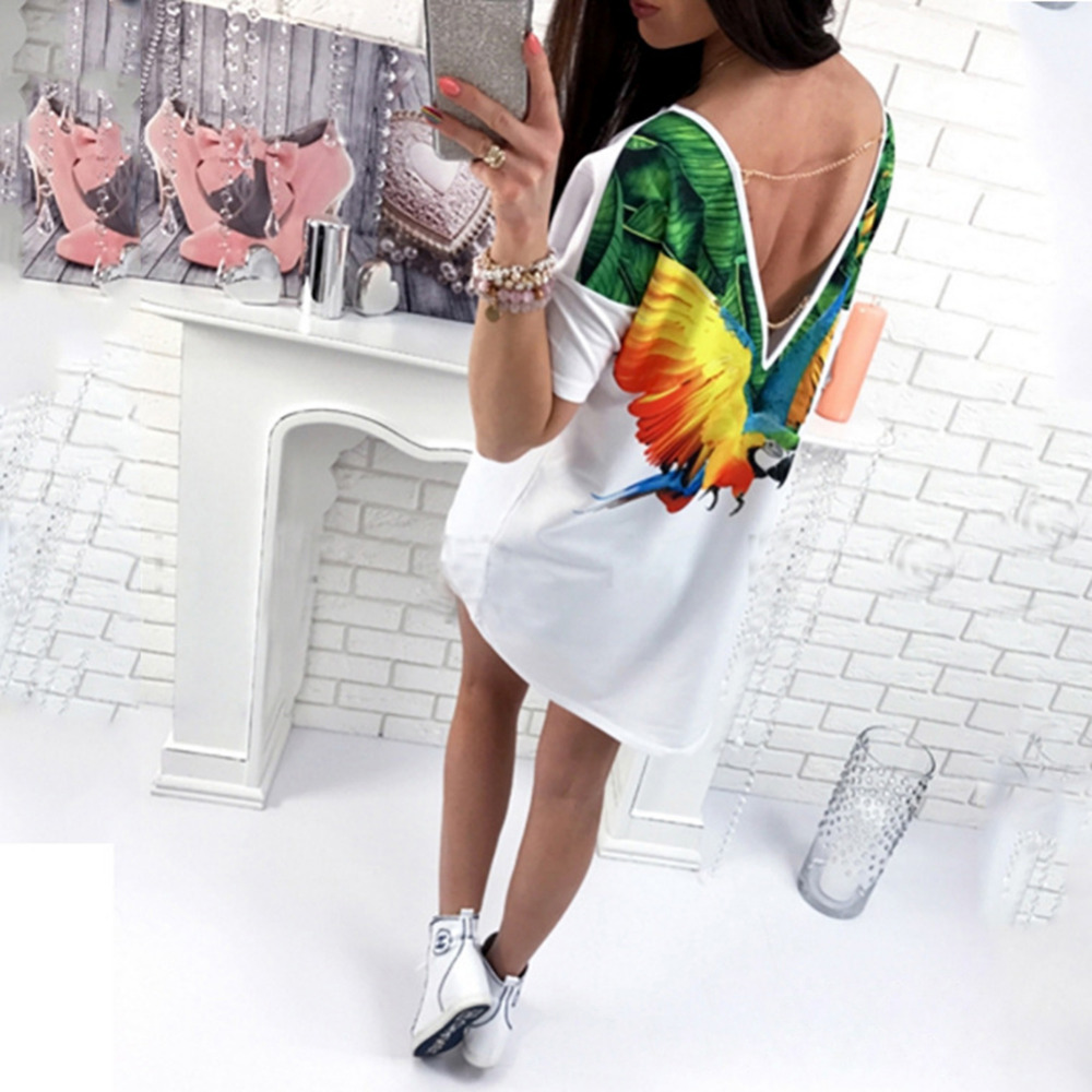 Smartdoo Store Summer Women Tops Back Cute Butterfly Cats Print Printed Sexy Deep V Backless With A Short Sleeve Long Tops T-Shirt Tees