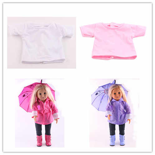 Doll Clothes 2 Colors White & Pink T-shirt Wear Fit 18 Inch American Doll & 43 Cm Born Doll For Generation Doll Accessories