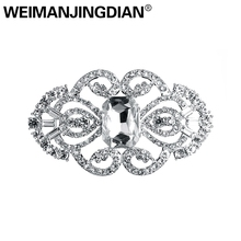 WEIMANJINGDIAN Арт Деко серебряное покрытие кристалл брошь со стразами булавки для женщин или свадебные букеты