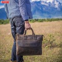 2019 для мужчин's пояса из натуральной кожи портфель crazy horse кожа сумка коровьей бизнес портативный официальный компьютер