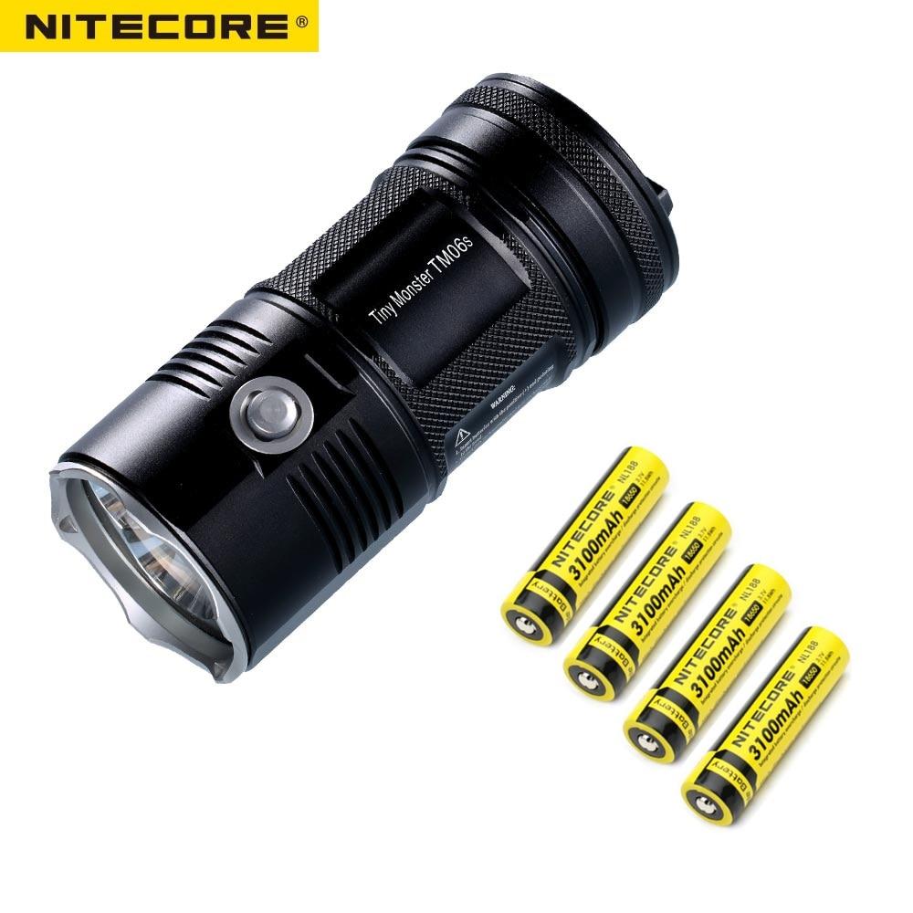 Nitecore TM06 Led Light 3800 Lumens 4*CREE XM-L2 U2 LED Flashlight+ 4 x NL188 3100mah 18650 Battery ews tangsfire super bright 4800 lumens 4 x cree xm u2 led lamp 3 modes flashlight power source 1 2 3 4 x 18650 3 7v battery f