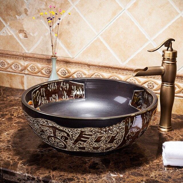 Mano maded mano artistica dipinta porcellana ceramica lavabo lavabo ...