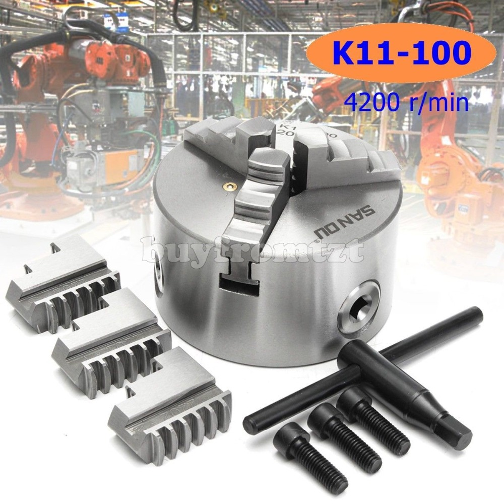 K11-100 Metal Lathe Chuck 3 Jaw 100mm Self Centering /& Reversible Jaw For CNC US