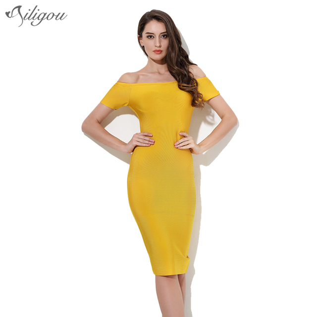 ef76cdde74f6 Ailigou 2017 Summer Bandage Dress Women Celebrity Party Dresses Yellow  Slash Neck Short Sleeve Dress Bodycon Wholesale Vestidos