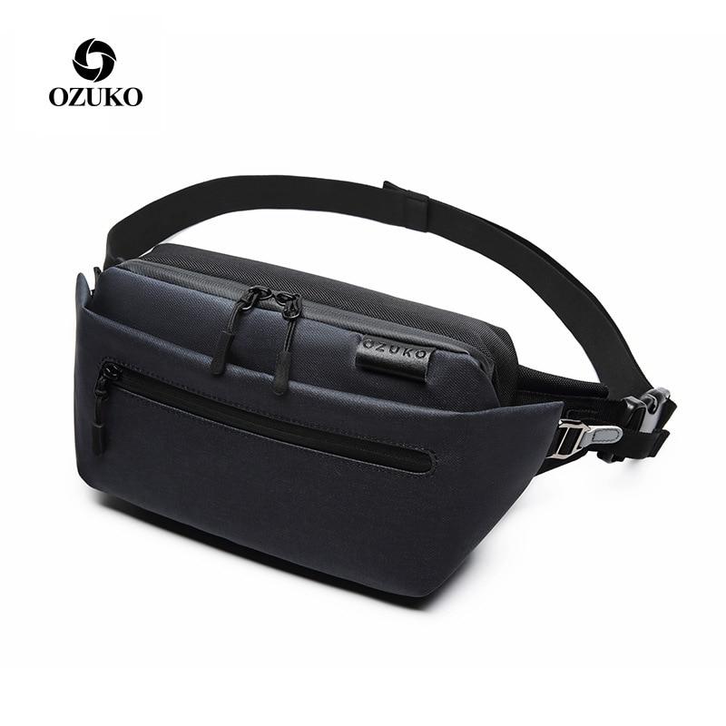 OZUKO Waist Bag Waterproof Men Fanny Pack Shoulder Belt Bag Male Phone Pouch Bags Travel Waist Pack Small Running Sport Bolso