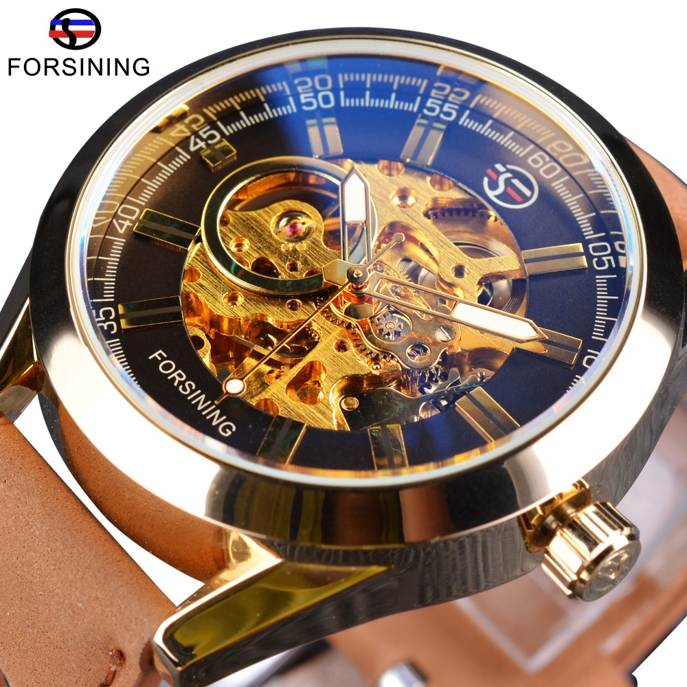 Forsining West Cowboy Military Wrist Watch Golden Case Genuine Leather Mens Watches Top Brand Luxury Automatic Skeleton Clock forsining date month display rose golden case mens watches top brand luxury automatic watch clock men casual fashion clock watch