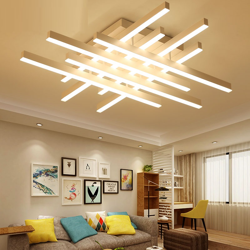 Modern LED Ceiling Lighting Fixtures Fashion Aluminum Geometric Acrylic Ceiling Lamp Bedroom Living Room Luminarias Para Techo