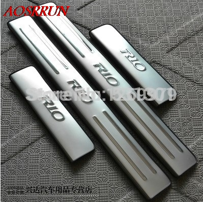 цена на for KIA RIO k2 2010 2011 2012 2013 2014 2015 2016 sedan hatchback stainless steel scuff plate door sill car accessories 4pcs/set