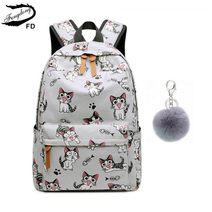 FengDong genç kızlar için okul çantaları schoolbag çocuk sırt çantaları sevimli hayvan baskı tuval okul sırt çantası çocuklar kedi çantası paketi