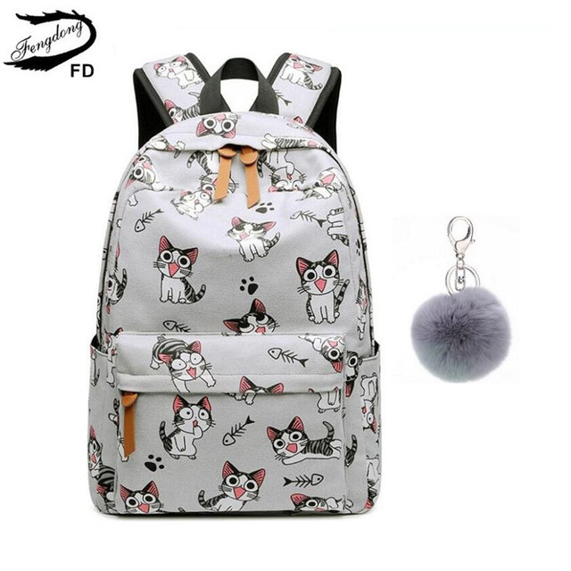 Fengdong school bags for teenage girls schoolbag children backpacks cute animal print canvas school backpack kids cat bag pack