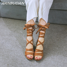 JIANBUDAN/ Cross-tied Fashion womens sandals Sexy high-heeled gladiator Artificial suede Open Toe Roman 34-42