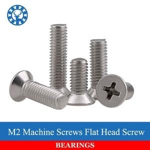 50Pcs M2 DIN965 ISO7046 JISB1111F GB819 304 Stainless Steel Machine Screws Flat Head Screw