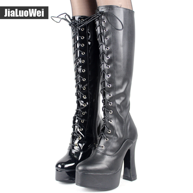 """jialuowei Women 5"""" chunky High heel platform PU Leather lace up Knee-High Solid Zipper Boots - Exotic,Fetish,Sexy,Shoes"""