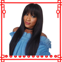 360 Lace Frontal Wig With Bangs 150 Density Straight Lace Front Human Hair Wigs Pre Plucked Remy Brazilian Wig With Baby Hair