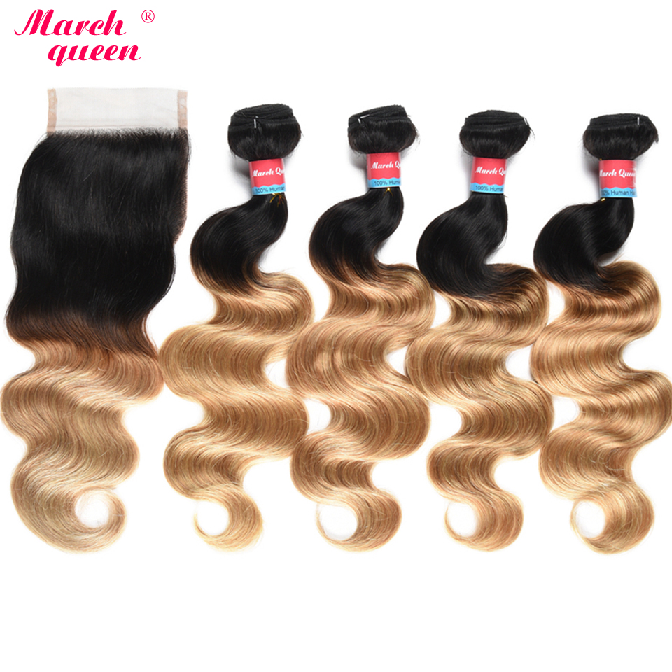 March Queen T1B/27 Body Wave 4 Bundles With Lace Closure Malaysian Hair Weave Double Weft Ombre Human Hair Extensions