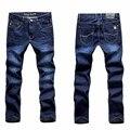 Nueva Casual Mens Jeans Azul 501 Estiramiento Regular Straight Alta Elasticidad Pies Denim Jeans Pantalones para Hombre