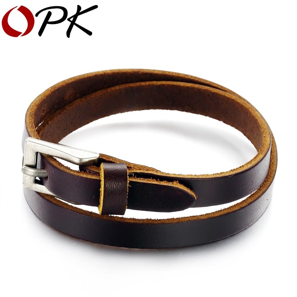 OPK BIJOUX DE MODE Véritable Ceinture En Cuir Boucle Bracelet Double Wrap Bracelet Unisexe Brun Vintage Style, n768