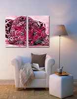 Large Modern 2 Pieces Red Leopard Canvas Painting Luxury Living Room Big Pictures No Frame