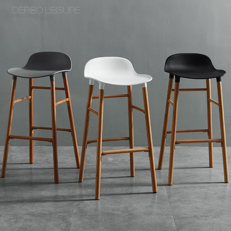 nice Fashion Modern Design solid wooden Classic luxury kitchen room wood loft high Bar Chair counter stool Popular Furniture 1PC