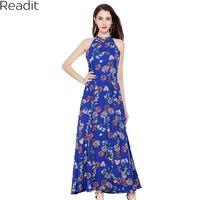 Readit Sexy Women Maxi Boho Dress Halter Neck Floral Print Sleeveless Summer Dress Holiday Long Beach