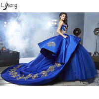 Romantic Royal Blue Appliques Tulle Puffy Evening Ball Gowns Vintage Princess Style Custom Made Women Formal Dress Maxi Gown