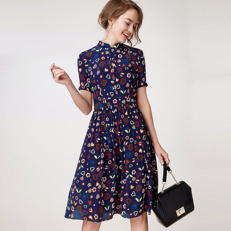 32bc526ed9 Jedwabna krepa sukienka 100% jedwab krepa kobiety Floral wydrukowano  sukienka jedwabna Vintage sukienka nowe biuro sukienka