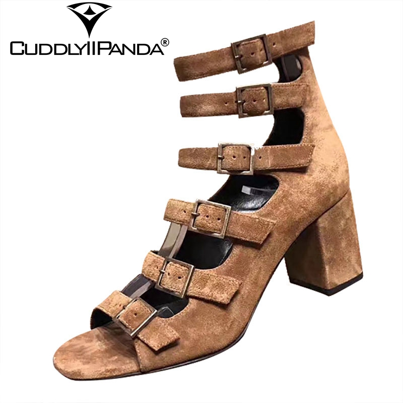 CuddlyIiPanda 2019 Summer Suede Leather Women Gladiator Sandals Luxury Design Punk Style Belt Buckle High Heels