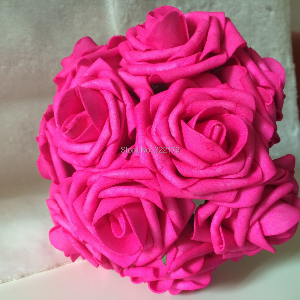 Hot Pink Bouquet Flowers Artificial Fuchsia Rose For Wedding Floral
