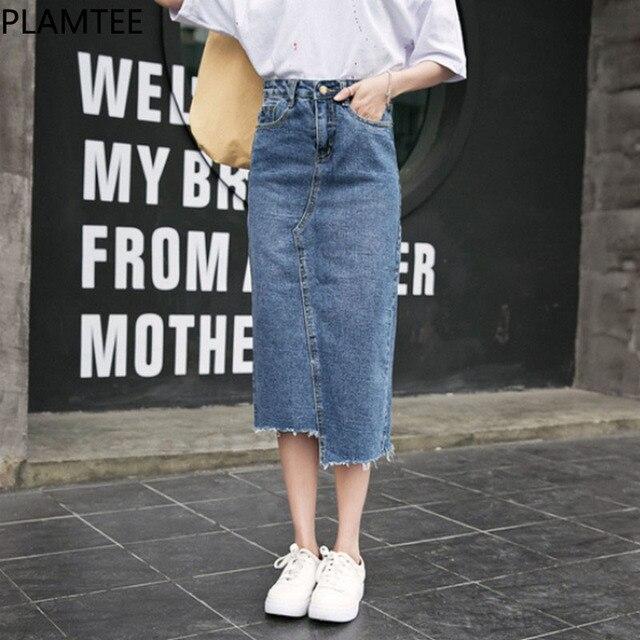 PLAMTEE Spring Worn Denim Skirt with High Waist Split Hit Color Pocket Jeans Women Long Skirt Streetwear Irregular Faldas Mujer