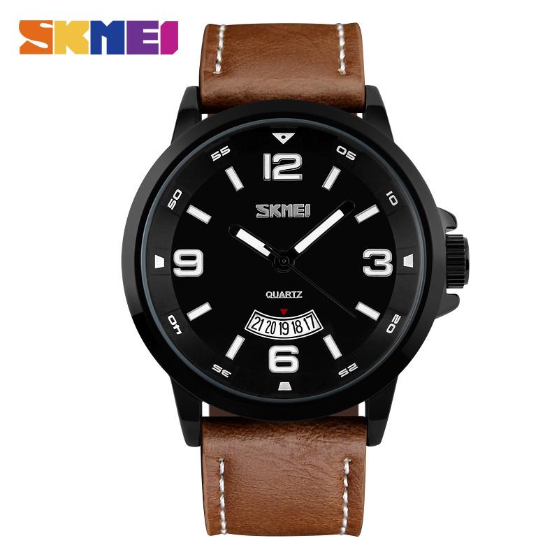 Prix pour Skmei mode casual quartz montres hommes bracelet en cuir calendrier complet montre 50 m résistant à l'eau de luxe montres 9115