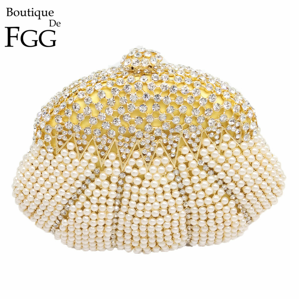 ФОТО Gift Box Women Socialite Crystal Beaded Evening Clutches Bag Pearl Hollow Out Handbags Diamond Wedding Dress Bridal Clutch Purse