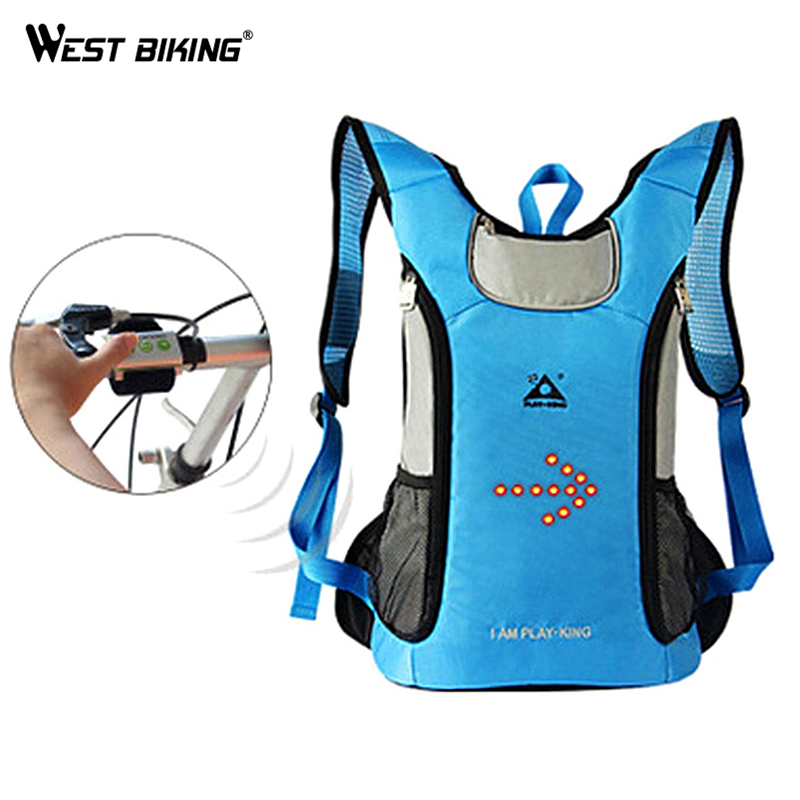 WEST BIKING Bicycle Pilot Lamp Backpack Night LED Turn Light Bike Bag Wireless Flashing Rear Light Signals Reflector Cycling Bag west biking bike chain wheel 39 53t bicycle crank 170 175mm fit speed 9 mtb road bike cycling bicycle crank