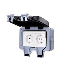 IP66 Weatherproof Waterproof  Double EU Standard Electrical Power Sockets Outlet Grounded Plug Outlets Outdoor Wall Socket
