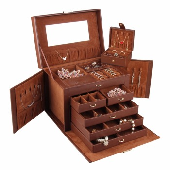 Brown Large Jewelry Box Girls Necklaces Rings Organizer Earrings Container Women Display Storage Case Lock
