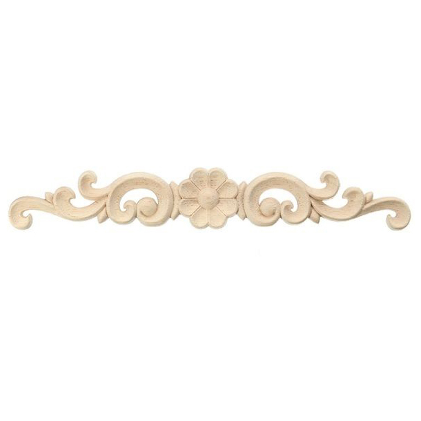 Exquisite Classic Wood Carved Flower Applique Furniture Natural SIZE:16 x 3CM
