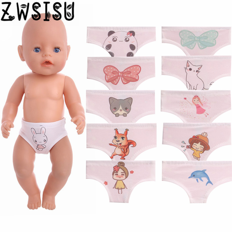 Doll Panties 11 Styles Cartoon Patterned Fit 18 Inch American Doll & 43 Cm Born Doll For Generation Girl`s Toy Doll Accessories