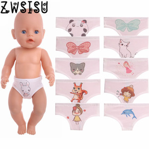Doll Panties 11 Styles Cartoon Patterned Fit 18 Inch American Doll & 43 Cm Born Doll For Generation Girl`s Toy Doll Accessories(China)