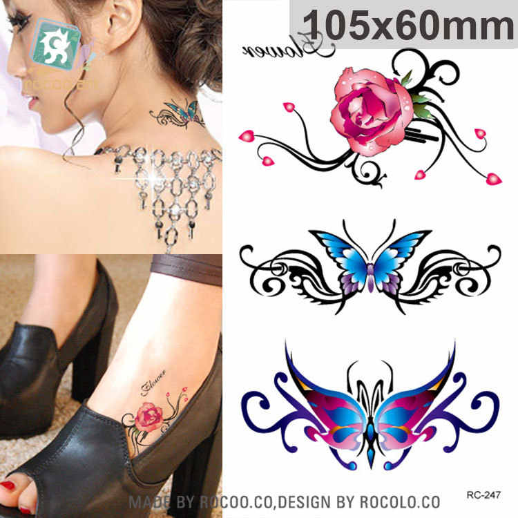 waterproof temporary tattoos for men and women Beautiful 3d rose butterfly Jewelry design small tattoo sticker Wholesale RC2247