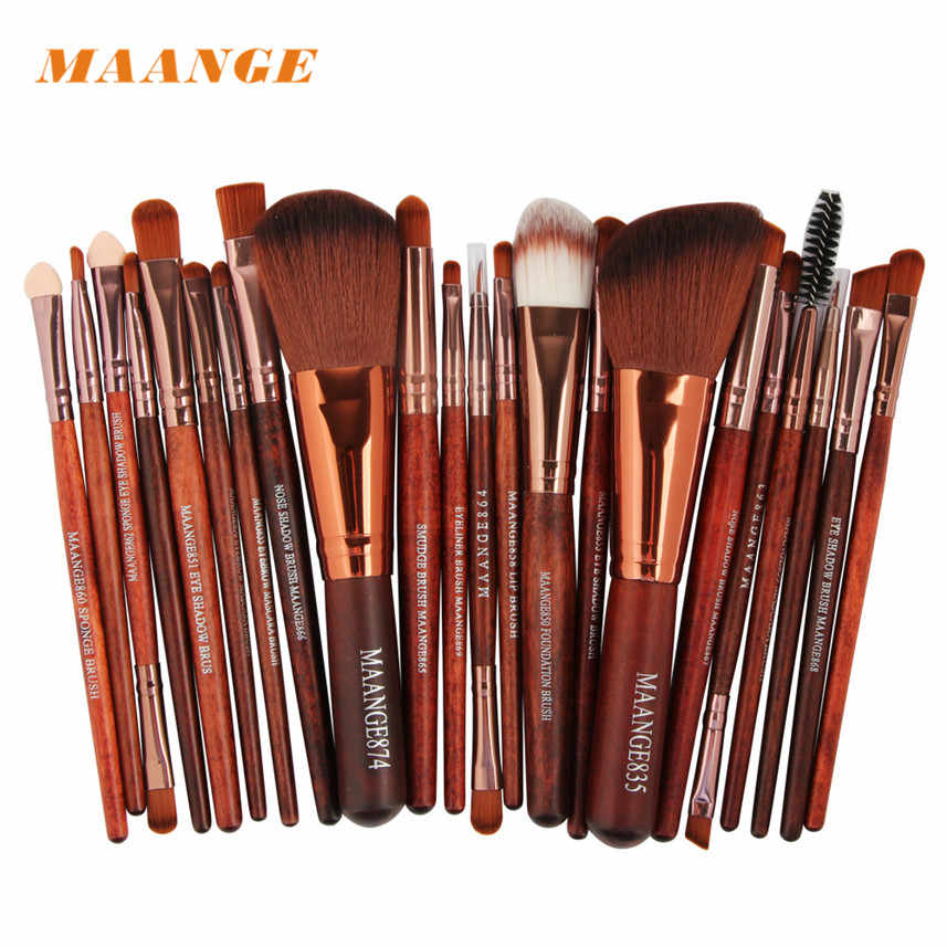 MAANGE Soft and silky to the touch 22pc Brown Hypoallergenic Cosmetic Makeup Brush Blusher Eye Shadow Brushes Set Kit G12 19 160
