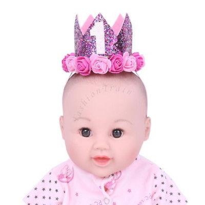 1st Birthday Floral Crown Headband