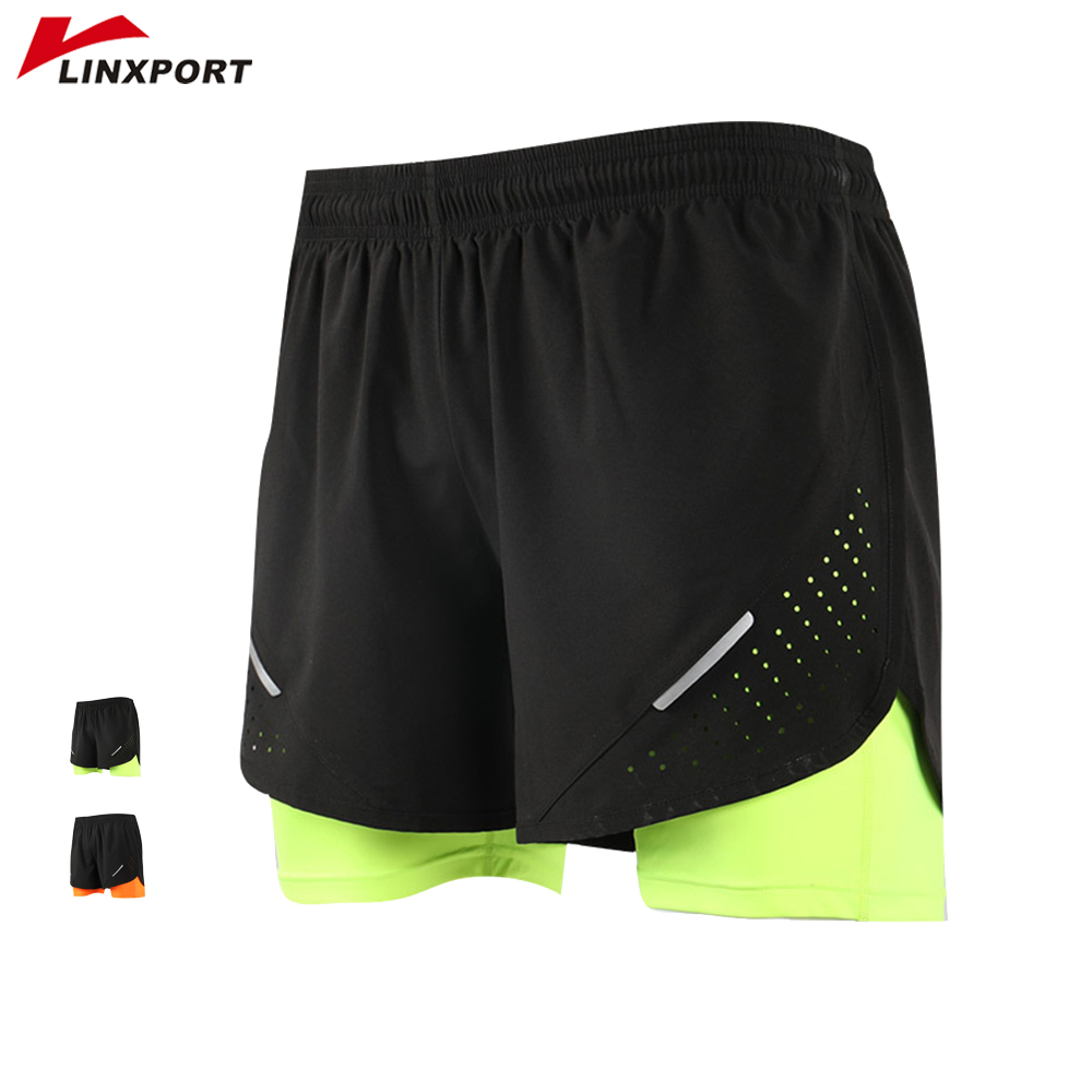 Cycling Shorts Fitness Gym Men with Longer-Liner 2-In-1 Training-Exercise Quick-Drying