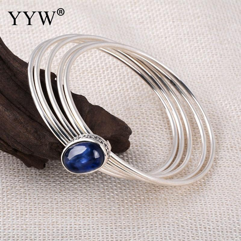 925 Sterling Silver Jewelry Simple Bracelet & Bangle With Blue Cubic Zircon Water Drop Bead Bracelets For Women Fashion Jewelry bead simple