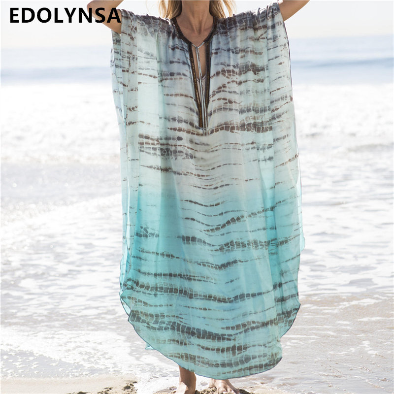 2019 Bohemian Striped Gedruckt Kaftan Strand Kleid Plus Größe Frauen Sommer Beachwear Lace Up Side Split Maxi Kleid Robe Plage N680 Angemessener Preis