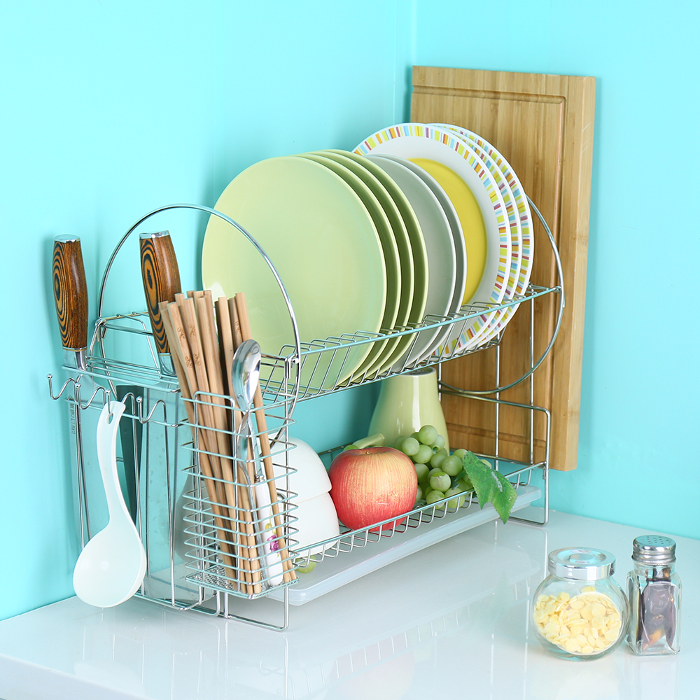 BYN 2 Layer Stainless Dish Drying Rack Multifunctional Kitchen ...
