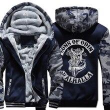 · 2019 バイキングスオーディン男性ジャージ 冬の息子オーディンバイキングフード付きジャケット男性ウールライナー服ジッパー厚み暖かいスウェット