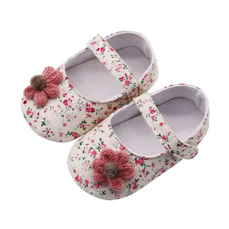 Baby Shoes Baby Girl Breathable Floral Print Anti-Slip Shoes With Flower Casual Sneakers Toddler Soft Soled First Walkers