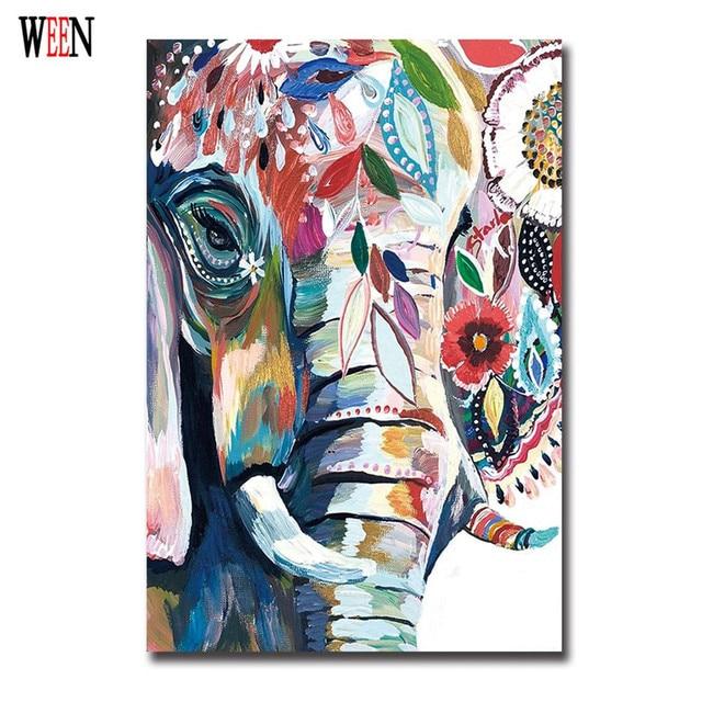 Abstract african elephant canvas art animal painting - Decoracion vintage retro ...