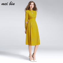 2017 New Women Stand collar Dresses Autumn Winter Vintage Print Casual Long Sleeve Retro Cotton Maxi Robe Tunic Floral Dress